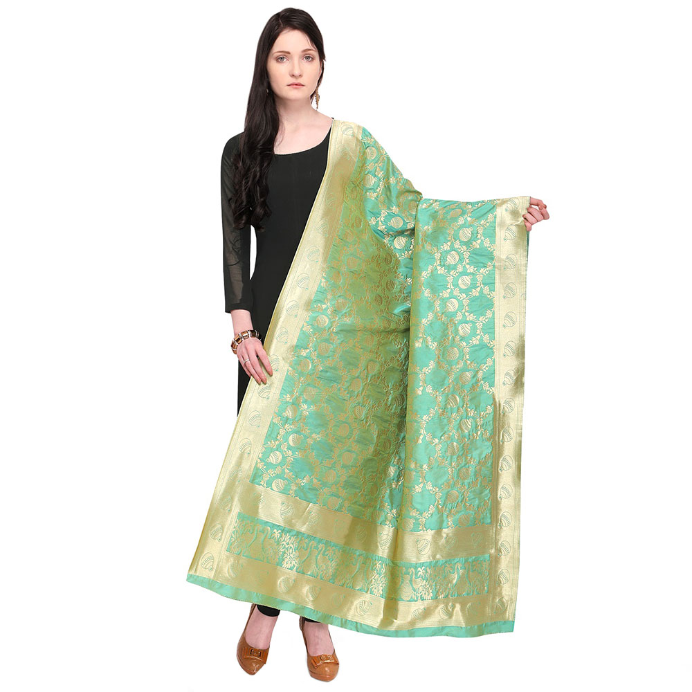 Sea Green Banarasi Art Silk Dupatta
