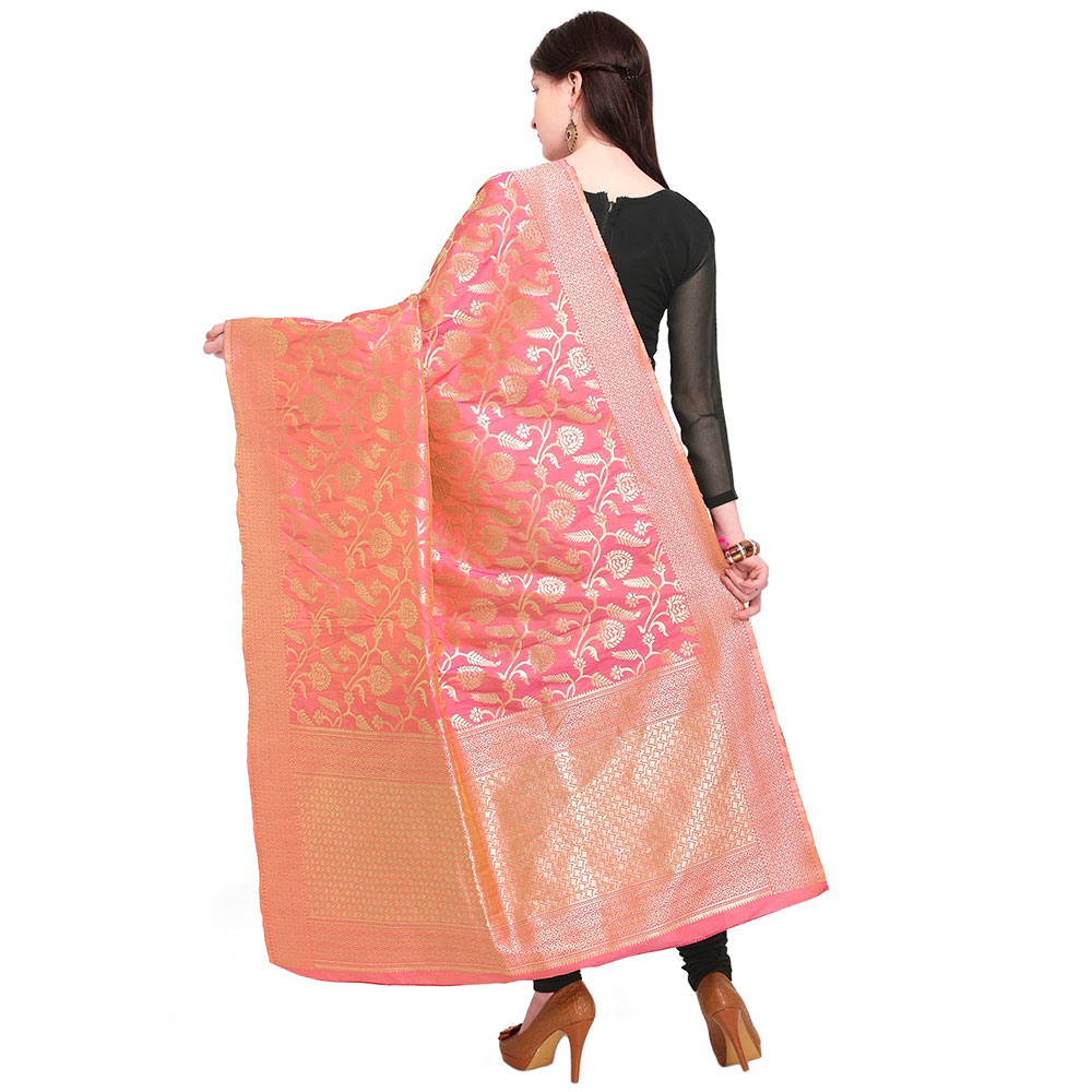 French Rose Pink Banarsi Art Silk Dupatta