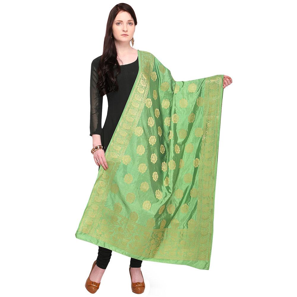 Emerald Green Banarsi Art Silk Dupatta