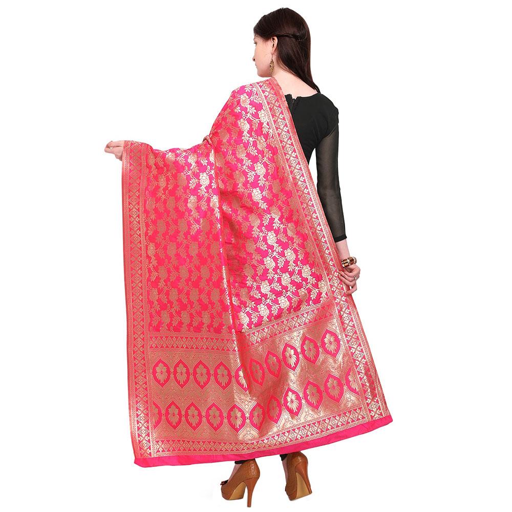 Magenta Pink Banarsi Art Silk Dupatta