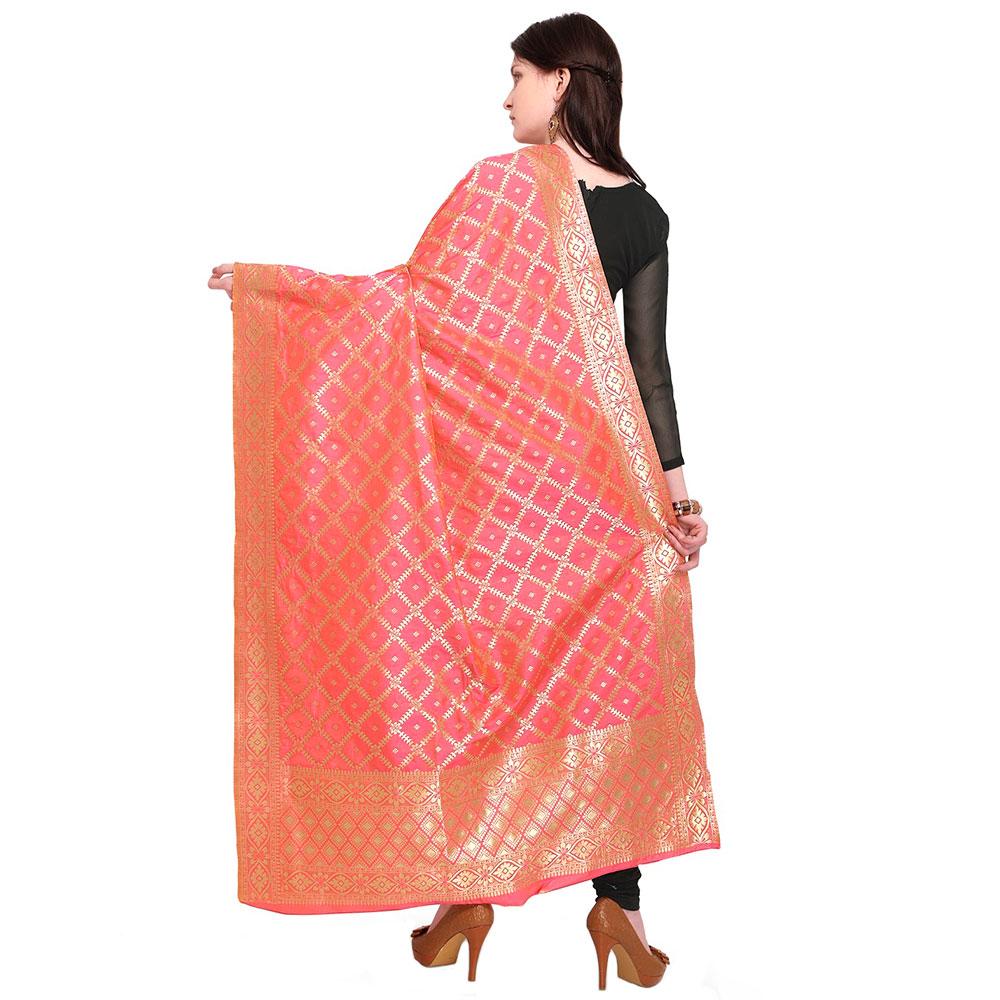 Salmon Red Banarsi Art Silk Dupatta