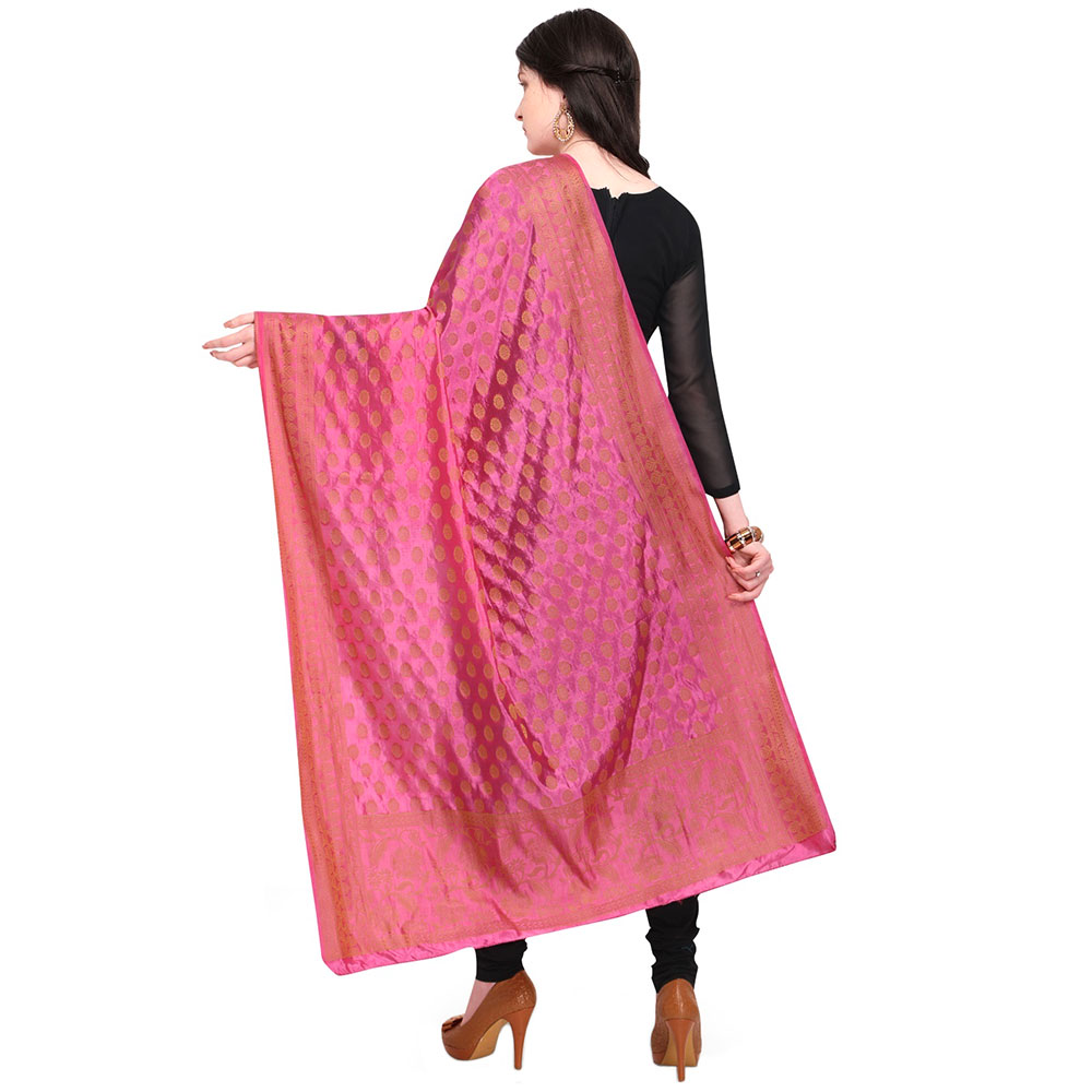 Hot Pink Banarsi Art Silk Dupatta