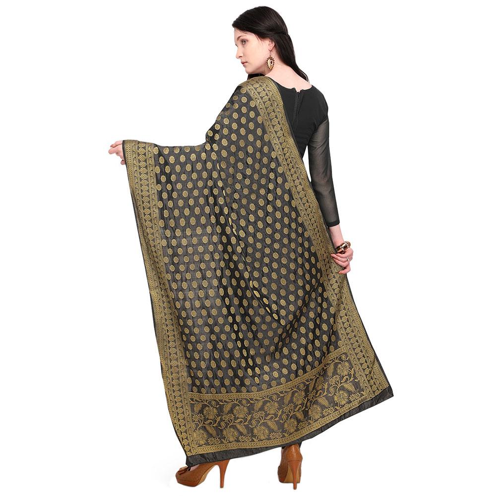 Black Woven Design Banarasi Silk Dupatta