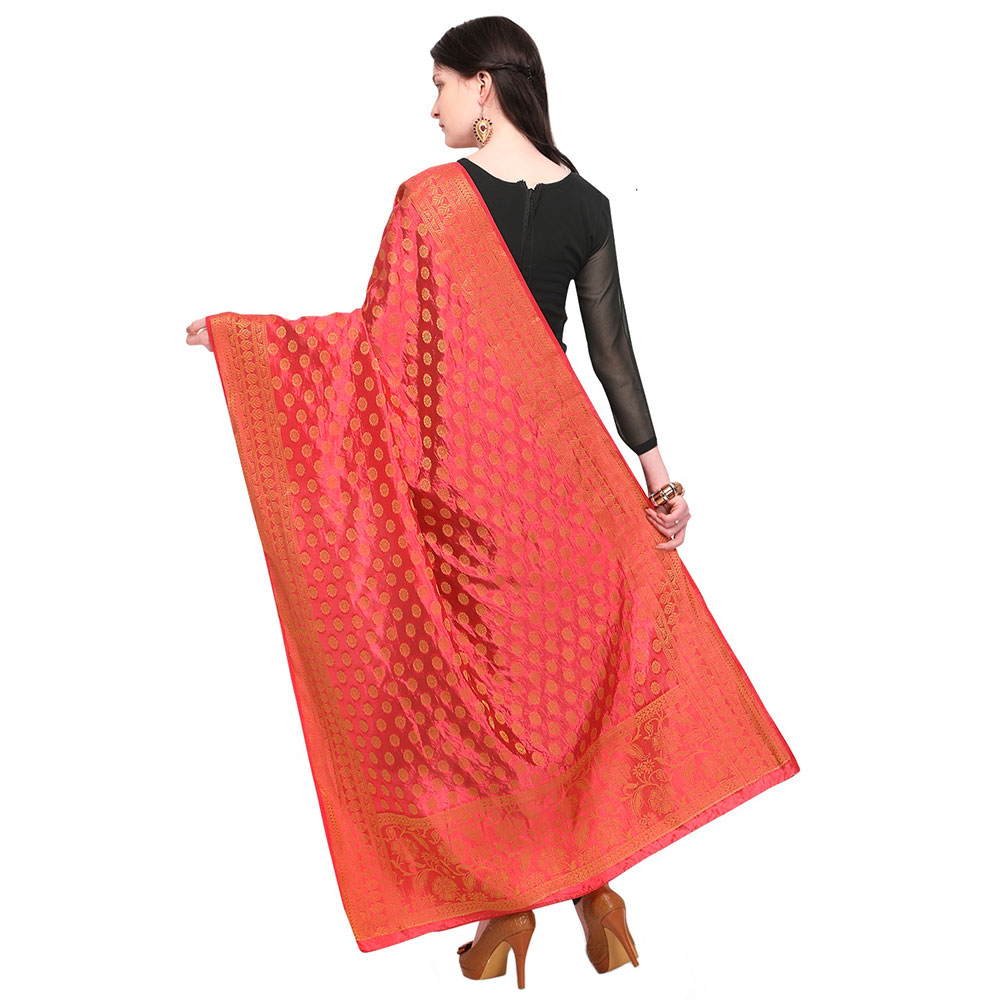 Red Woven Design Banarasi Silk Dupatta