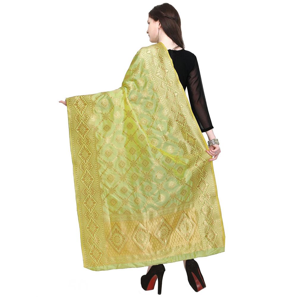 Green & Golden Woven Design Banarasi Silk Dupatta