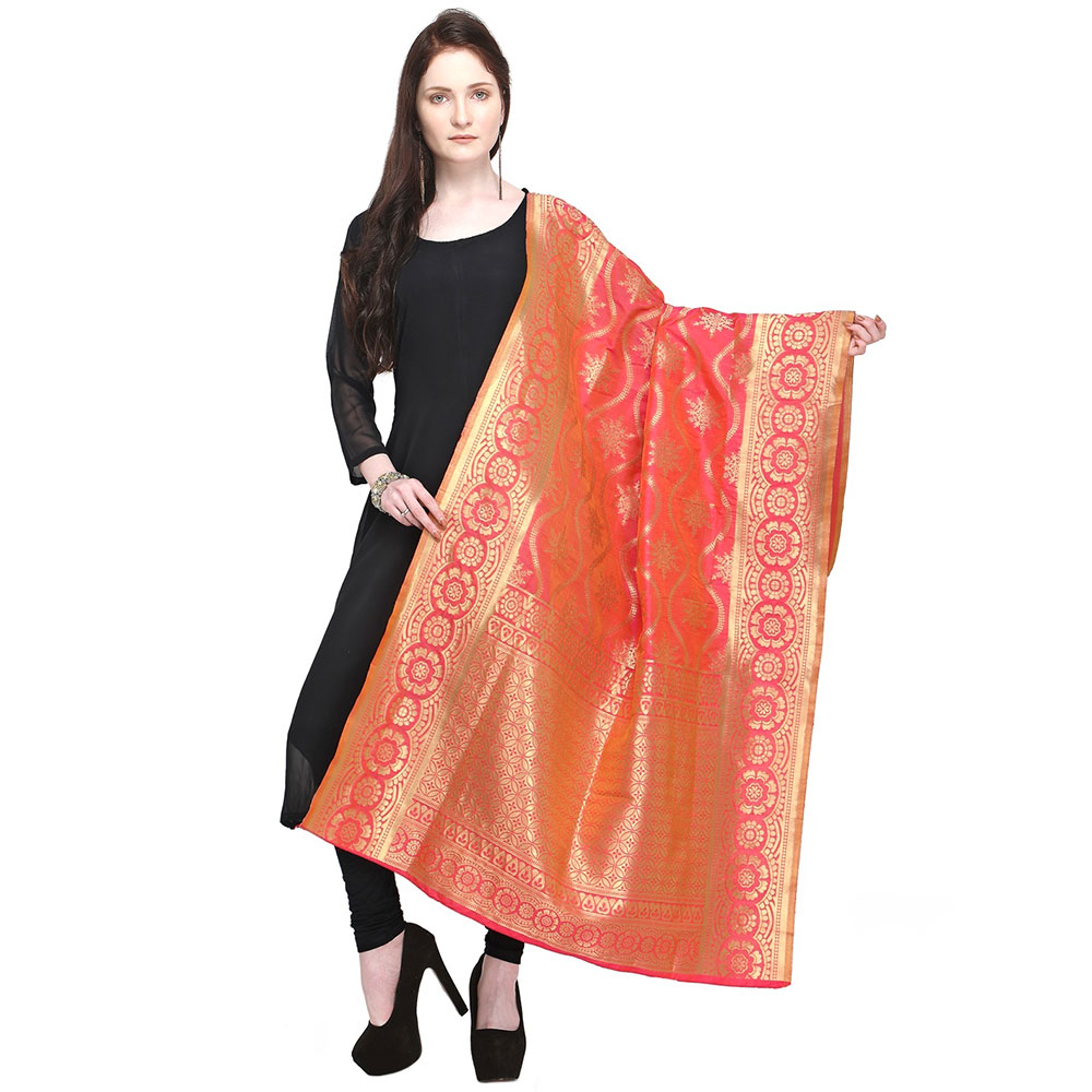 Red & Gold-Toned Woven Design Banarsi Silk Dupatta