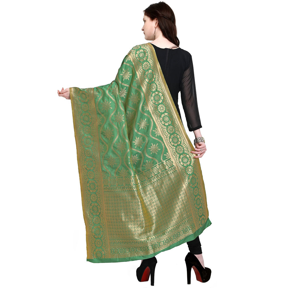 Pista Green Woven Design Banarsi Silk Dupatta