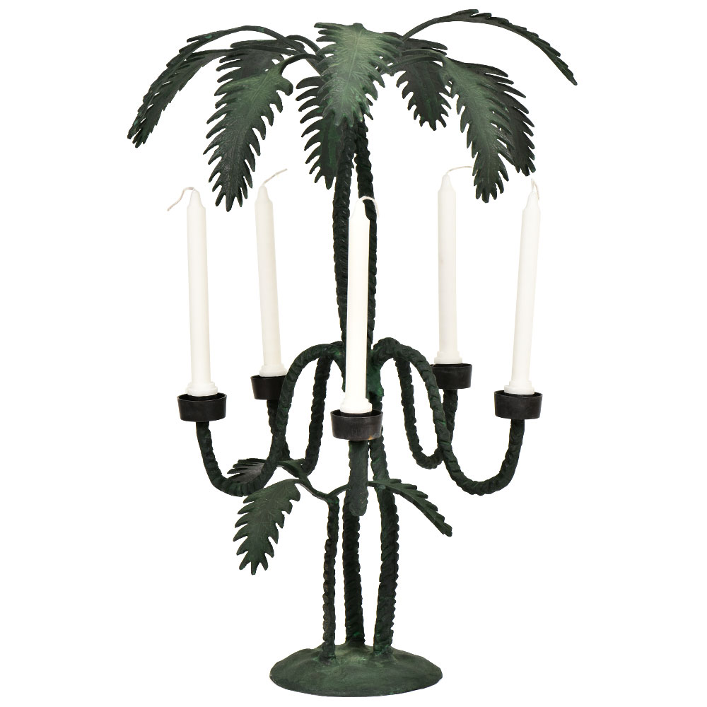 Brass Tropical Palm Tree Candle Holders With Green Patina