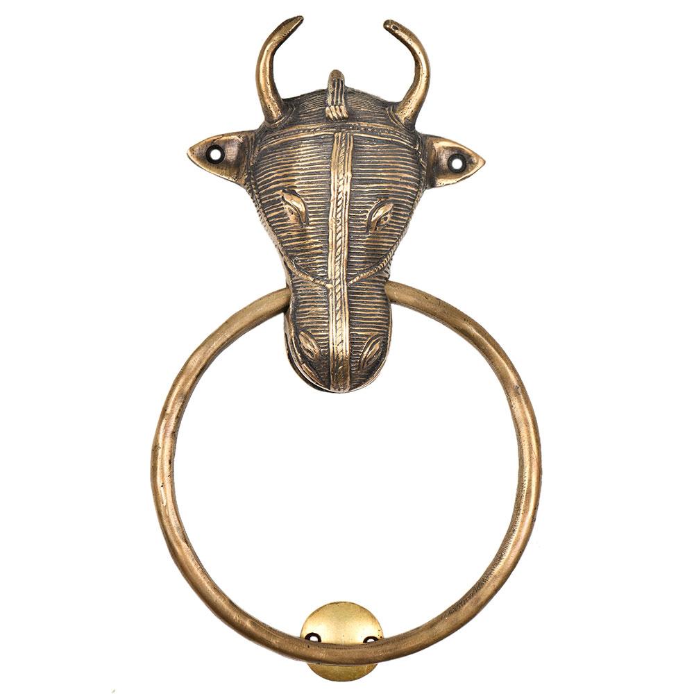 Tribal Bull Ox Head Brass Front Door Knocker Towel Ring