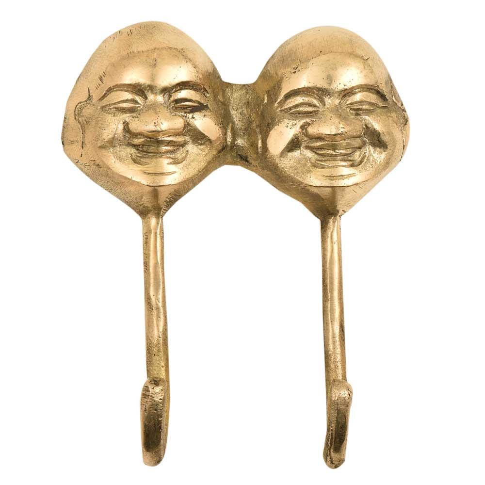2 Brass Face Head Art Laughing Buddha Wall Sculpture
