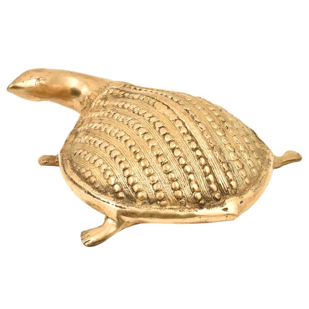 Golden Brass Metal Turtle Figurine