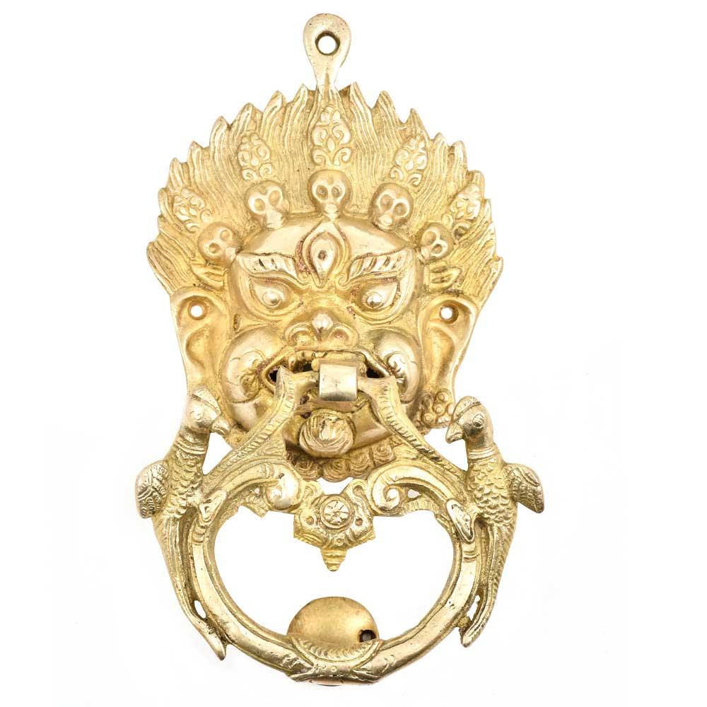 Brass Vajra Mahakala Buddha Head Bird Statues Door knocker Wall Hanging