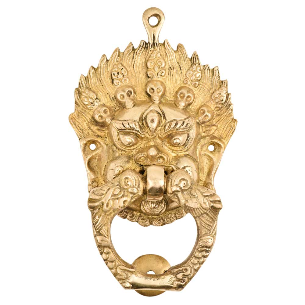 Brass Vajra Mahakala Buddha Head Birds Ring Door Knocker
