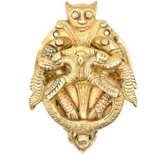 Brass Door Knocker With Thunder Dragon Two Fishes Door Metal Knocker