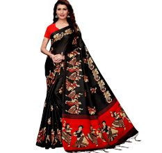 Black Kathak  Women's Khadi Silk Printed Saree With Blouse Piece