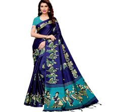 Navy Blue Kathak Women's Khadi Silk Printed Saree With Blouse Piece