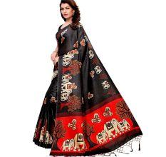 Black BaraatCasual Khadi Silk Printed Kalamkari Saree With Blouse Piece Tessle