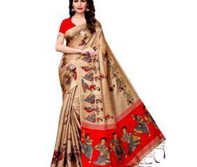 Chiku Beige Kathak Women's Khadi Silk Printed Saree With Blouse Piece