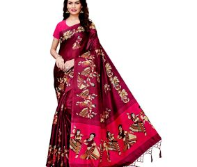 Wine Color Kathak Women's Khadi Silk Printed Saree With Blouse Piece