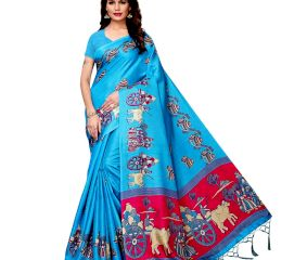 Blue Bullock Cart Village Scene Women's Khadi Silk Printed Saree With Blouse Piece