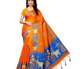 Orange Bullock Cart Village Scene Women's Khadi Silk Printed Saree With Blouse Piece