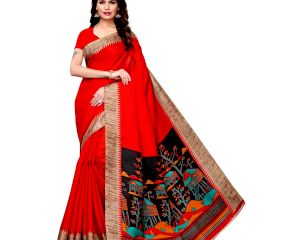 Red Khadi Silk Printed Kalamkari Saree With Tessle And Blouse Piece