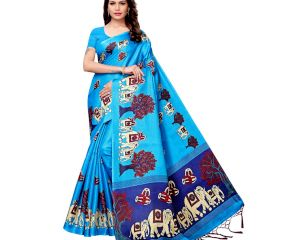 Blue Baraat Casual Khadi Silk Printed Kalamkari Saree With Blouse Piece Tessle