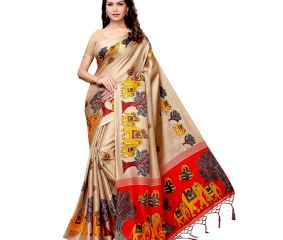 Chiku Beige Baraat Casual Khadi Silk Printed Kalamkari Saree With Blouse Piece Tessle
