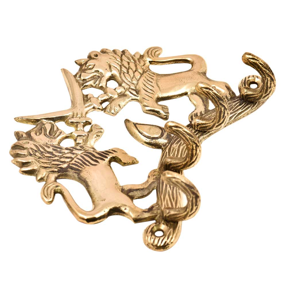 Handmade Two Fighting Lion with Swords Wall Hook Brass Key Holder