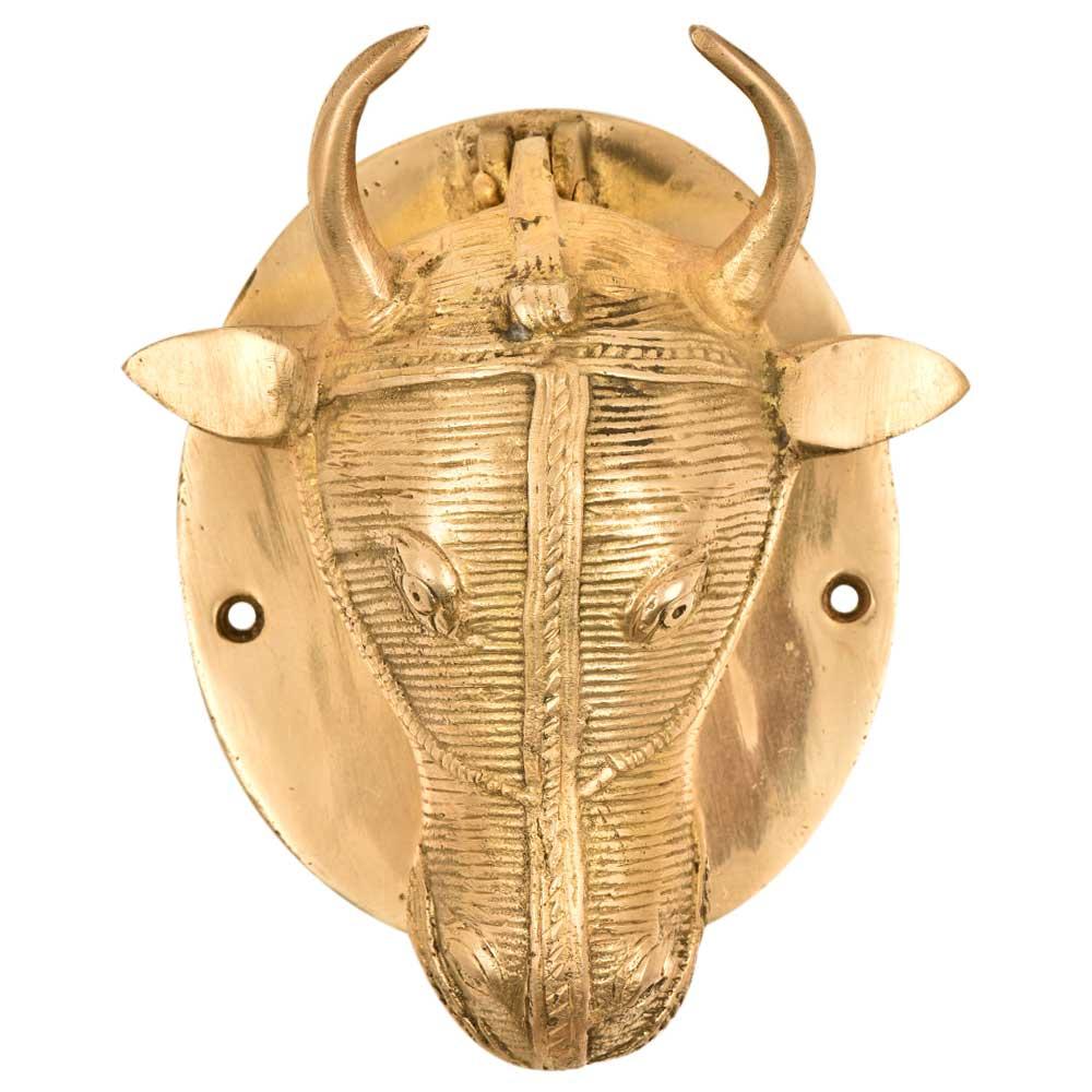 Golden Brass Ox Head Bull Door Knocker On Brass Plate