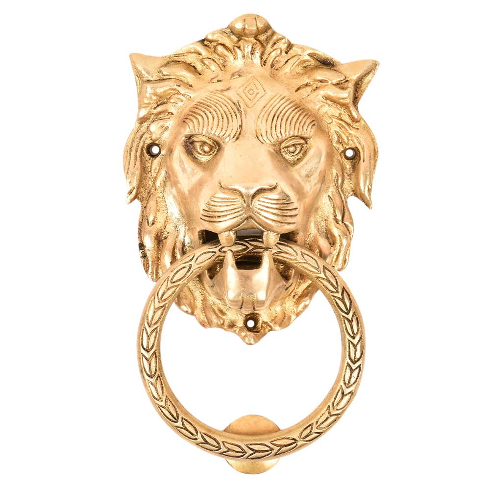 Handmade Brass Lion Head Ring Door Knocker