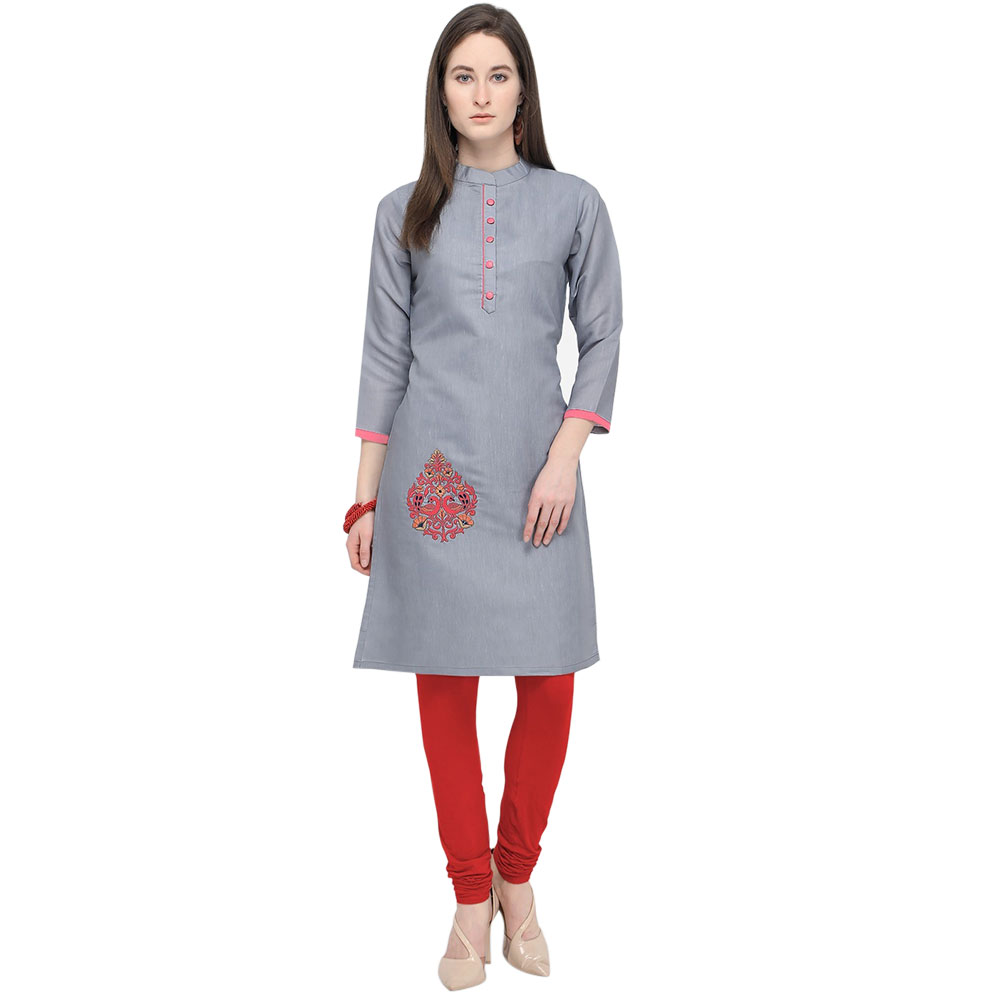 Grey South Cotton Stitched Satin Fabric Kurtis With Full Cotton Inner