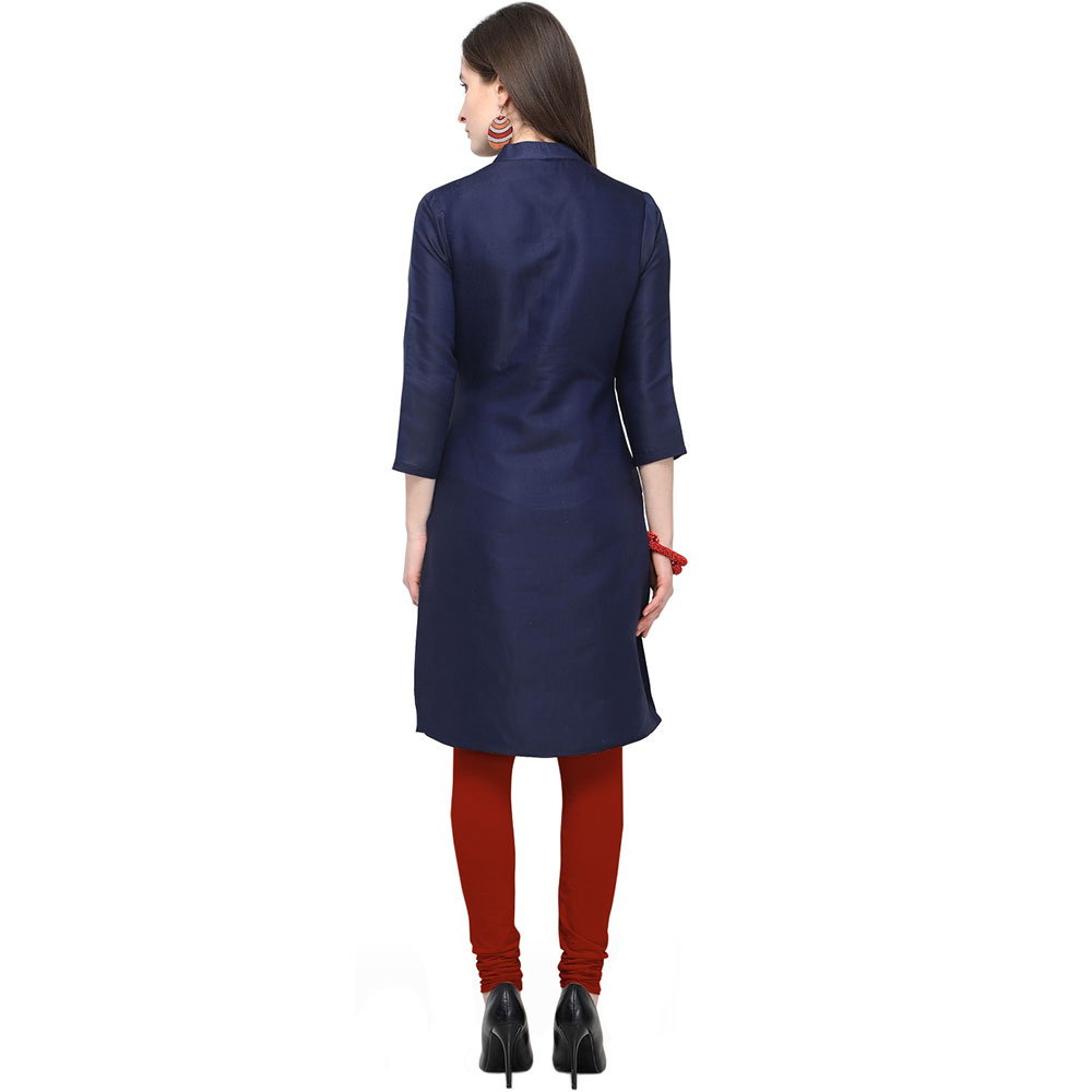 Navy Blue Cotton Stitched Satin Fabric Kurtis With Full Cotton Inner