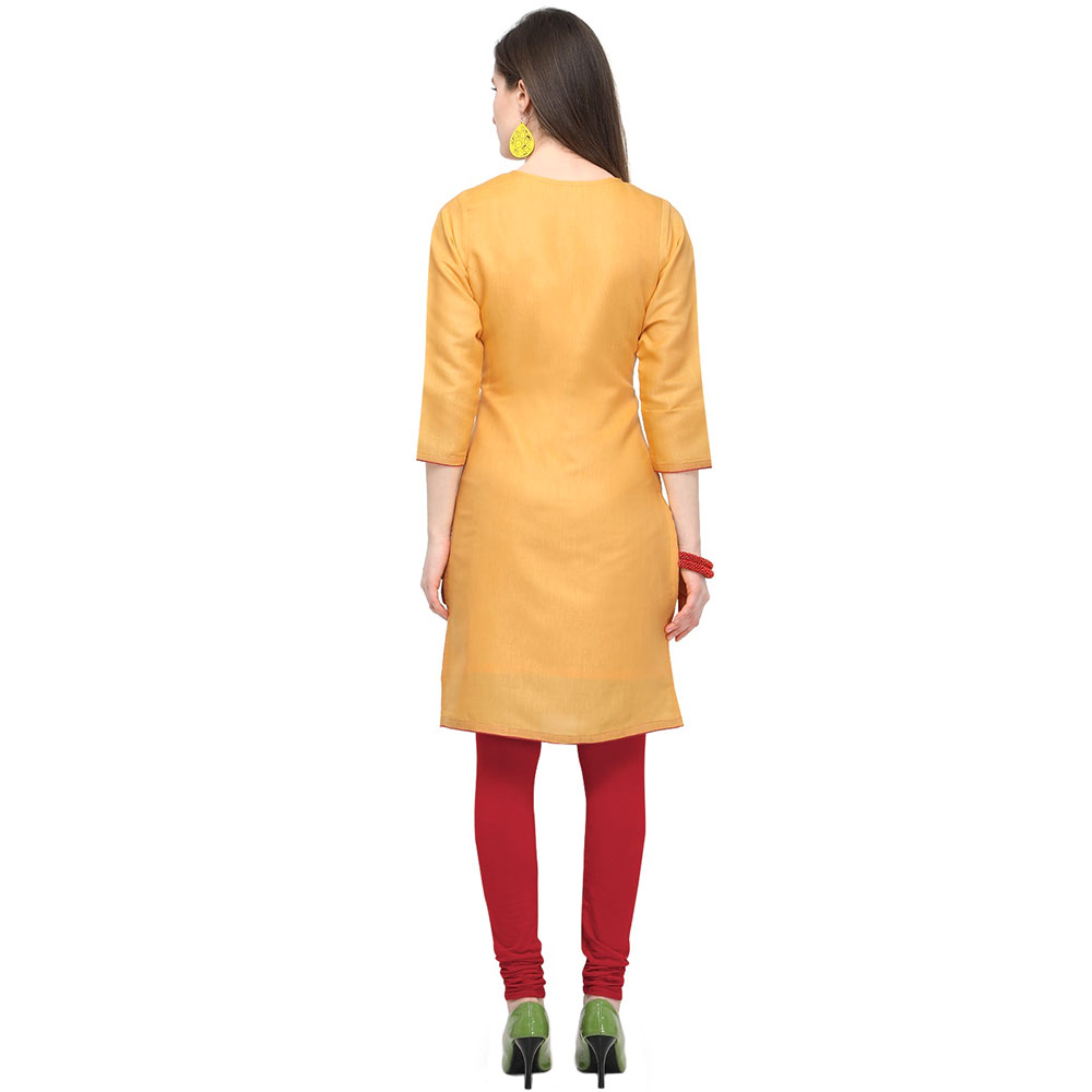 Pastel Orange Cotton Stitched Satin Fabric Kurtis With Full Cotton Inner