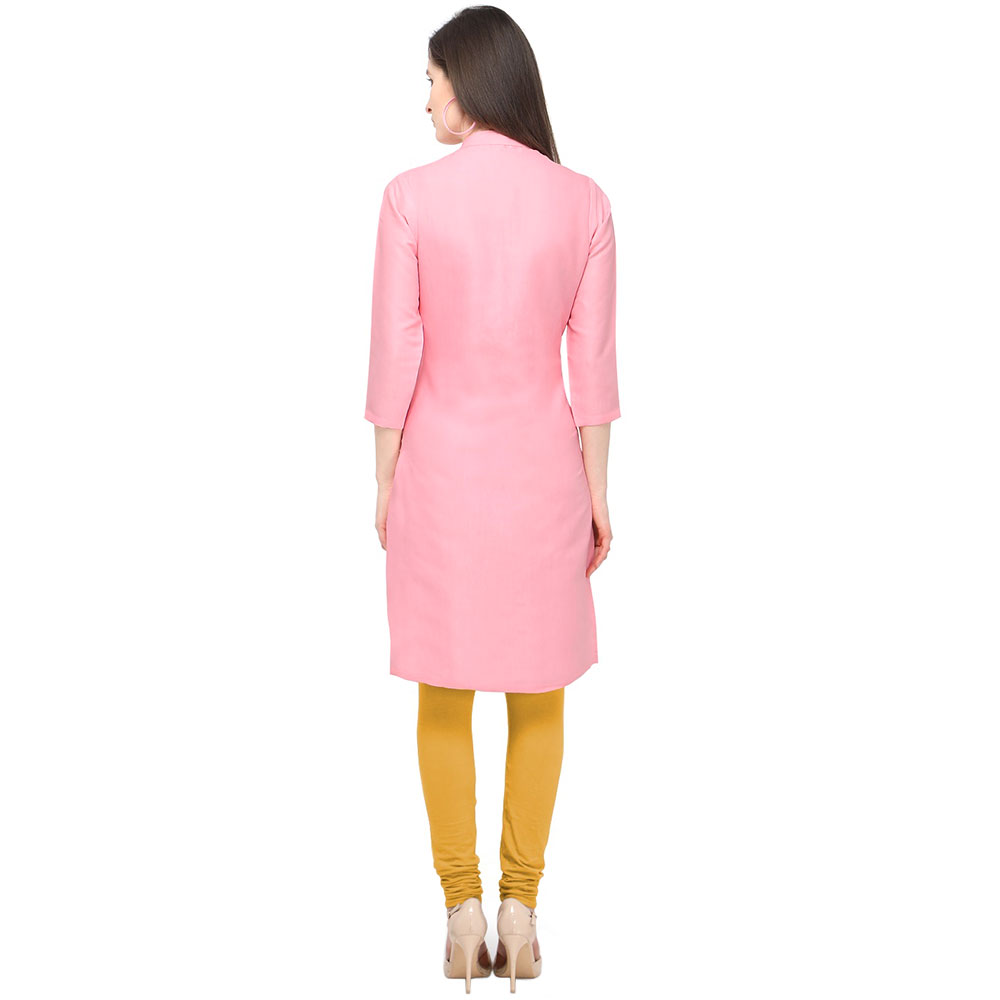 Baby Pink Cotton Stitched Satin Fabric Kurtis With Full Cotton Inner