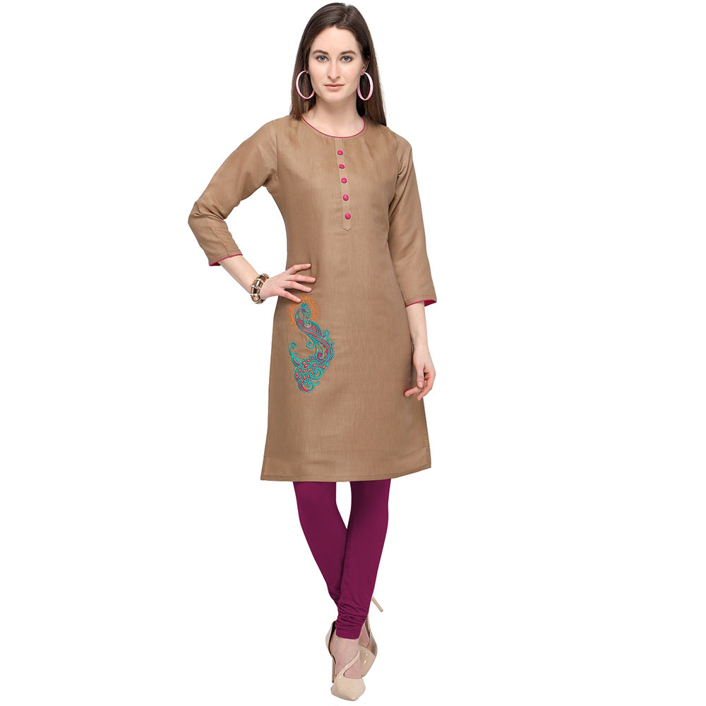 Light Brown Cotton Stitched Satin Fabric Kurtis With Full Cotton Inner