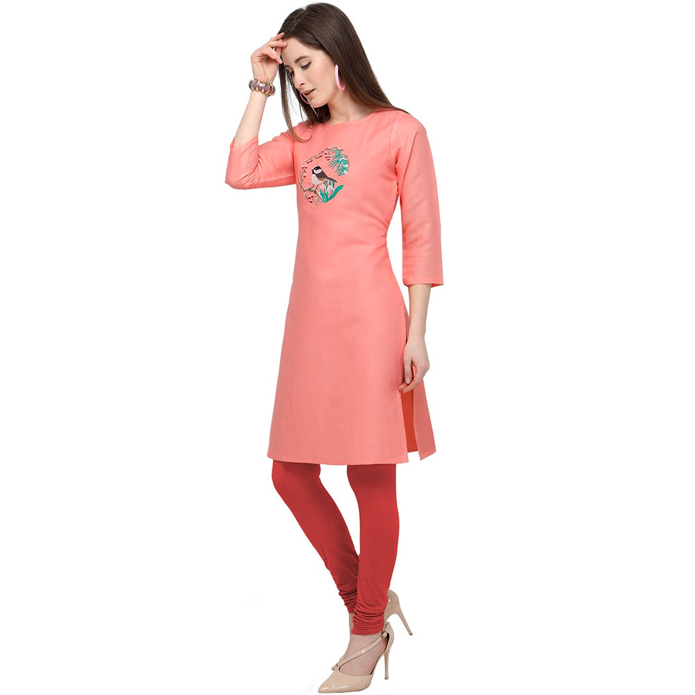 Peach Cotton Stitched Satin Fabric Kurtis With Full Cotton Inner