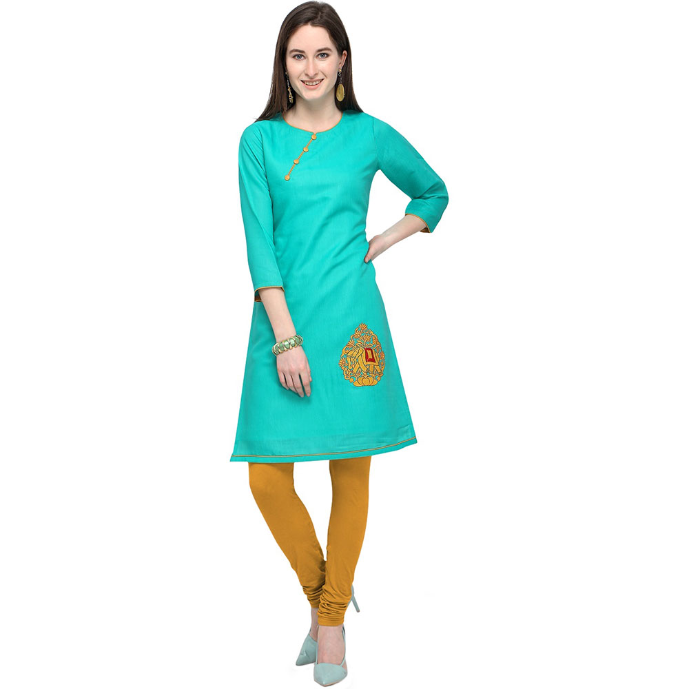 Turquoise Blue Cotton Stitched Satin Fabric Kurtis With Full Cotton Inner