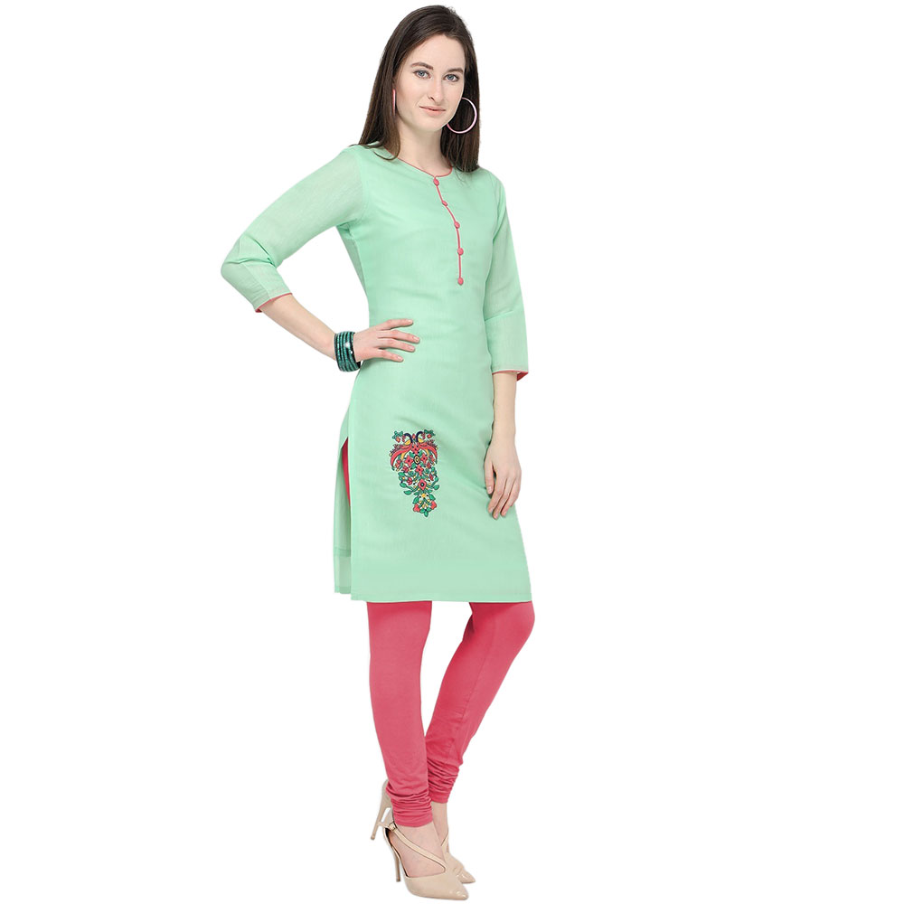 Sea Green Cotton Stitched Satin Fabric Kurtis With Full Cotton Inner