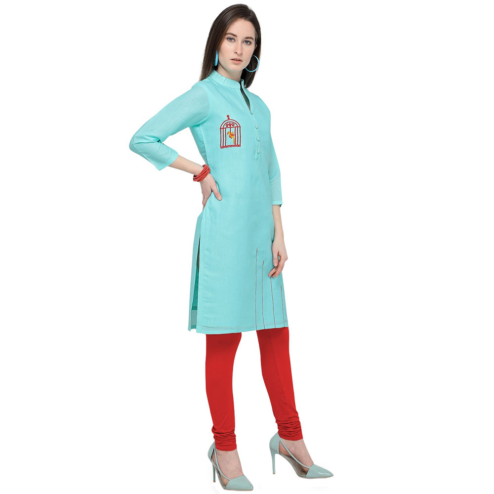Blue Cotton Stitched Satin Fabric Kurtis With Full Cotton Inner