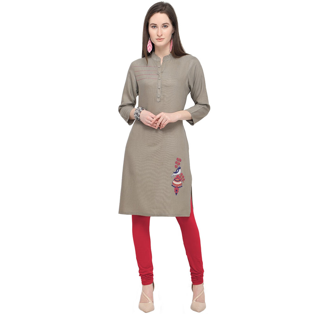 Stone Grey Office Wear Stiched Rayon Kurti with Beautiful Embroidery Work
