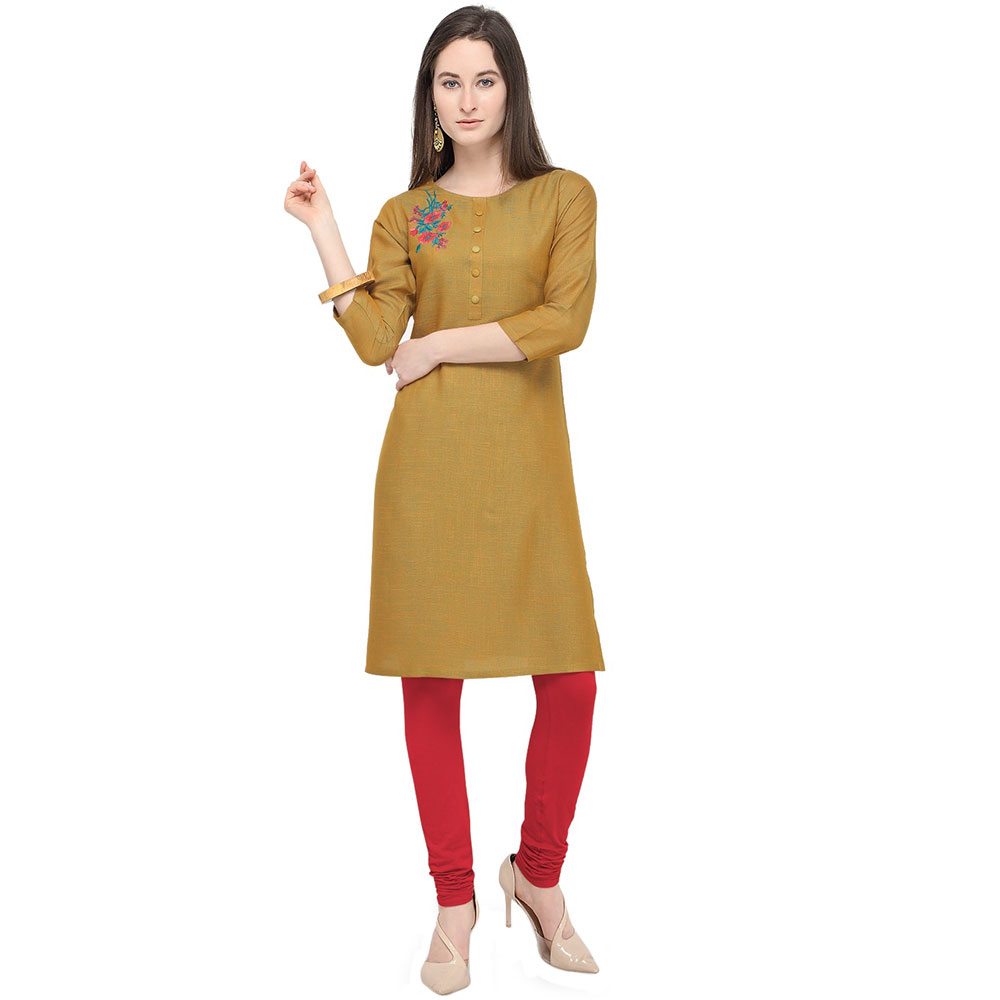 Mocha Brown Office Wear Stiched Rayon Kurti with Beautiful Embroidery Work