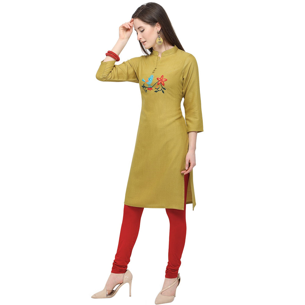 Olive Green Office Wear Stiched Rayon Kurti with Beautiful Embroidery Work