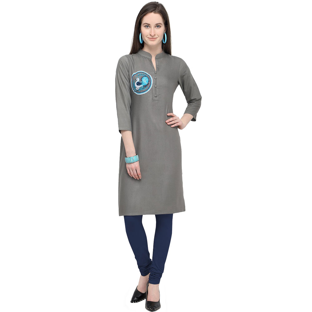Grey Office Wear Stiched Rayon Kurti with Beautiful Embroidery Work