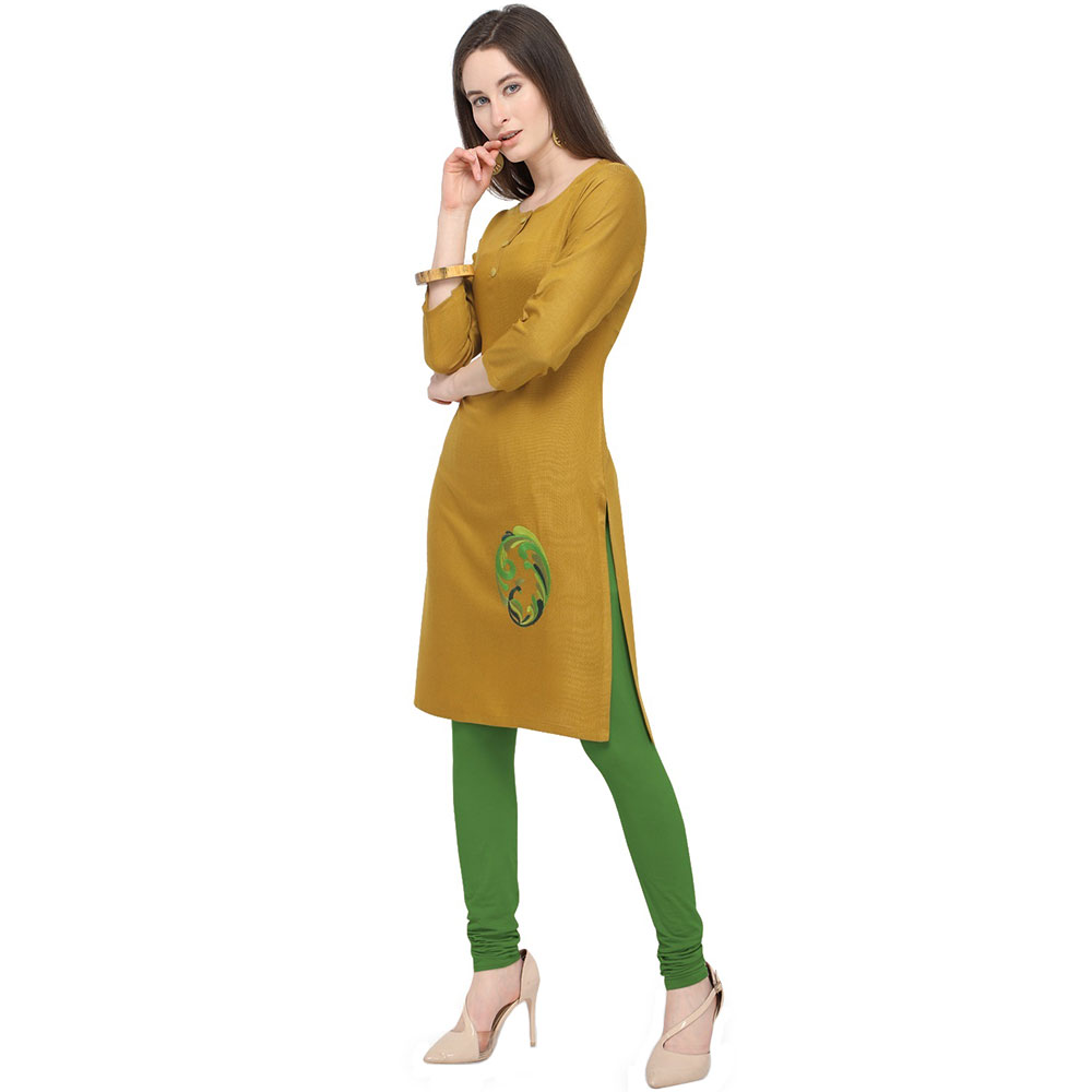 Kiwi Green Office Wear Stiched Rayon Kurti with Beautiful Embroidery Work
