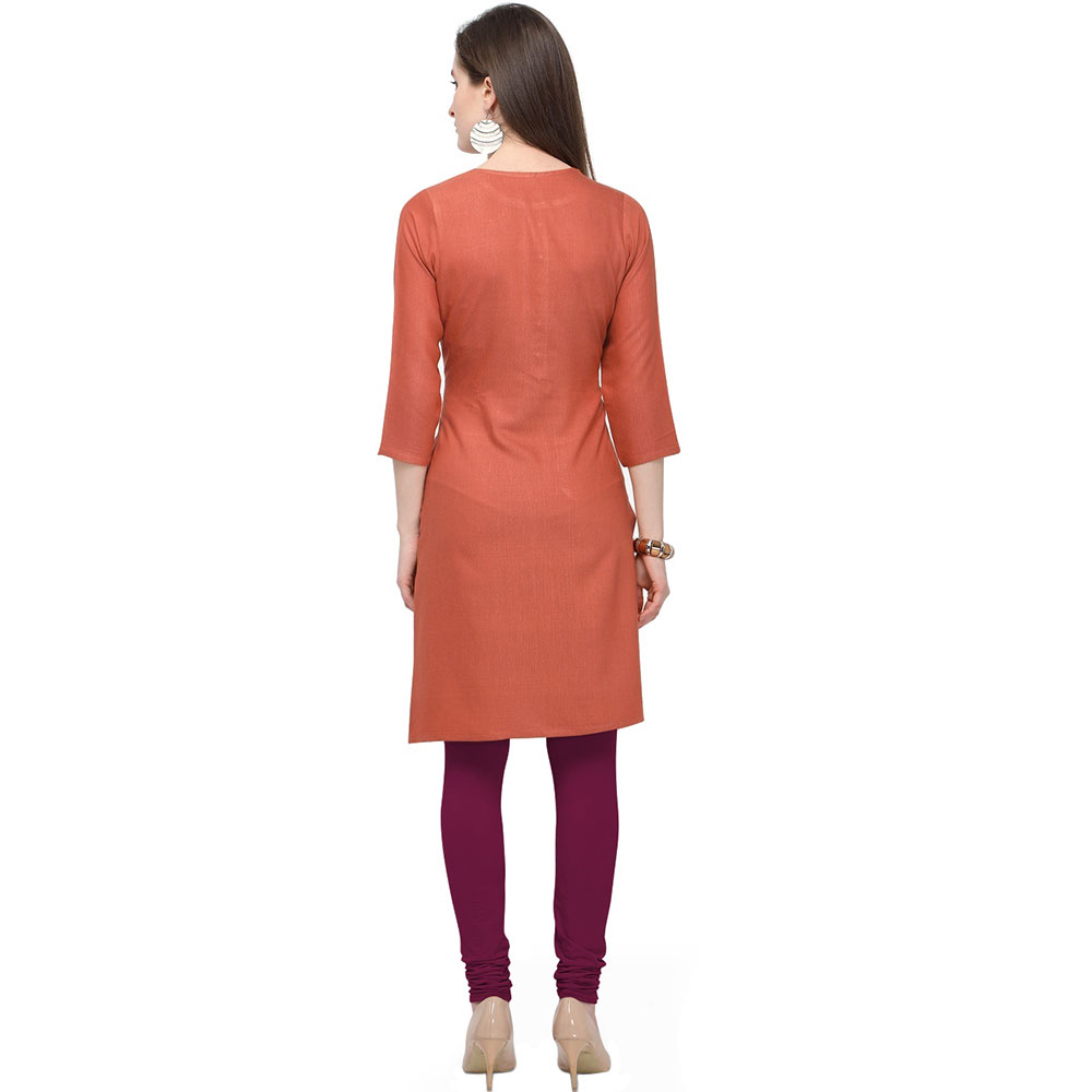 Only Orange Office Wear Stiched Rayon Kurti with Beautiful Embroidery Work