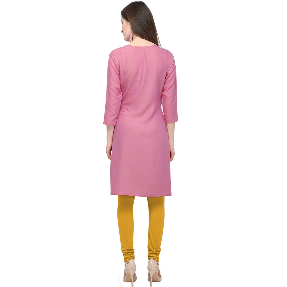 Pink Office Wear Stiched Rayon Kurti with Beautiful Embroidery Work