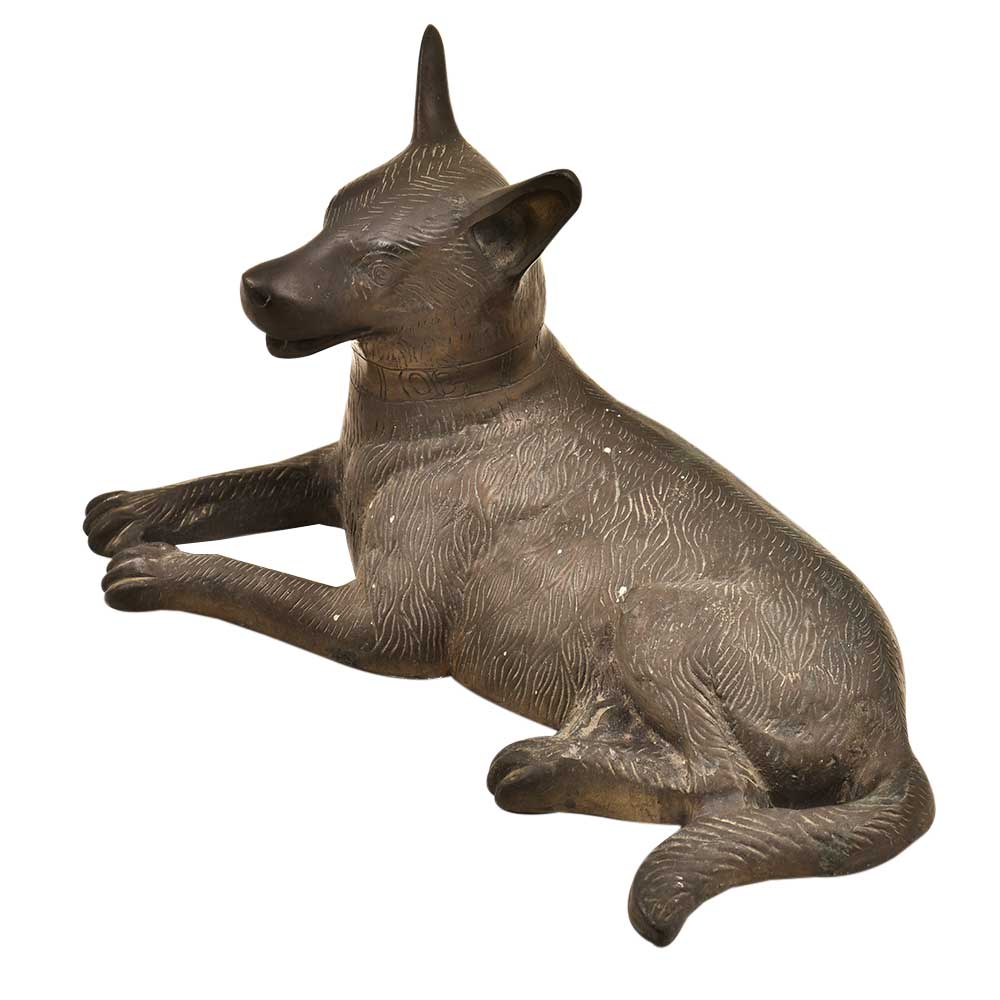 Handmade Sitting Heavy Brass Dog Home And Office Dcoration Statue