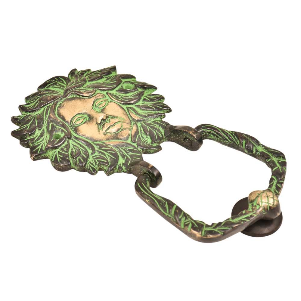 Brass Woman Head Door Knocker Greek God Grape Leafs Around Head