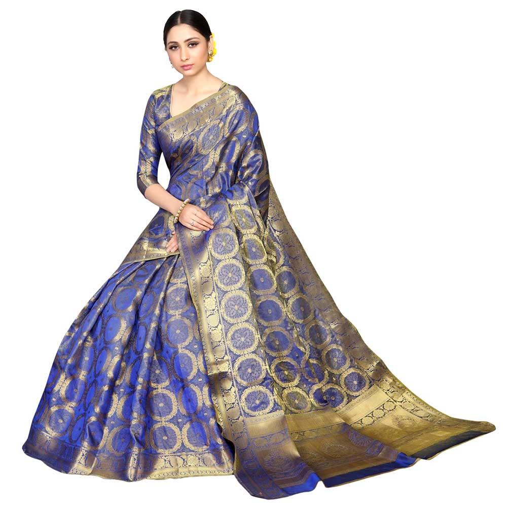 Blue Color Lichi 2 Tone Silk SareeWeaved Saree With Blouse Piece